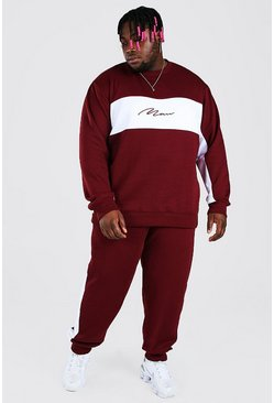 Burgundy Plus Size MAN Colour Block Tracksuit