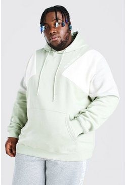 Sage green Plus Size MAN Colour Block Hoodie