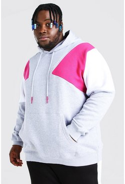 Grey marl Plus Size MAN Colour Block Hoodie