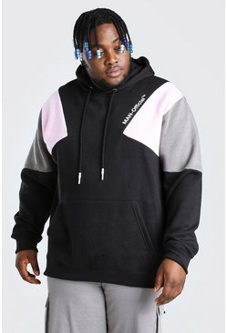 Black Plus Size Man Colour Block Hoodie