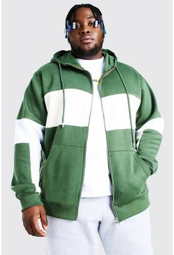 Khaki Plus Size Colour Block Zip Through Hoodie