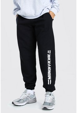 Black MAN Official Leg Print Joggers