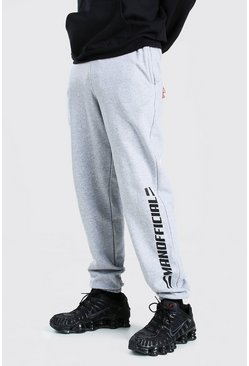 Grey marl grey Man Official Joggingbroek Met Opdruk