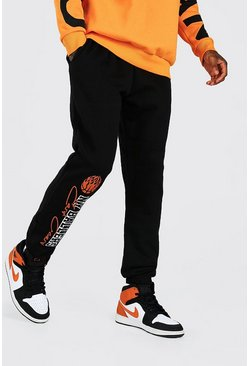 NY Basketball Print Joggers, Black nero