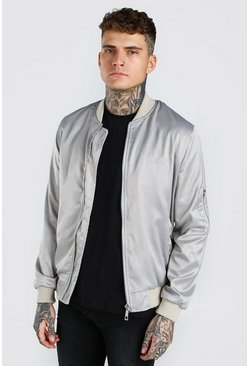 Grey MAN Satin Roman Embroidered Ma1 Bomber