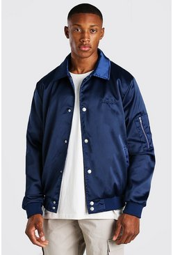Navy MAN Satin Roman Embroidered Ma1 Harrington