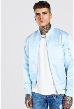 Blue MAN Satin Butterfly Embroidered Ma1 Bomber