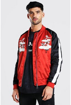 Red Crane Satin Bomber