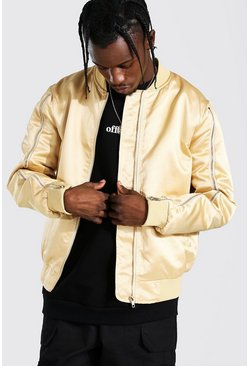 Champagne beige Zip Sleeve Smart Satin Bomber