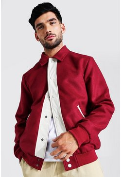 Burgundy red Melton Contrast Trims Harrington