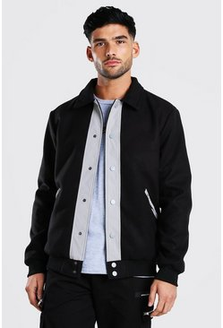 Black Melton Contrast Trims Harrington
