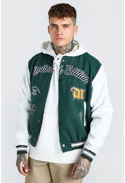 Forest green Official Varsity Melton Contrast Sleeve Bomber