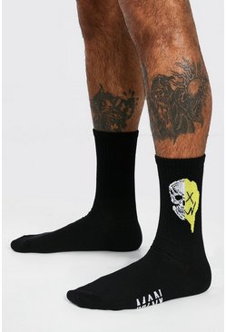 Black Halloween Spliced Drip Face Socks