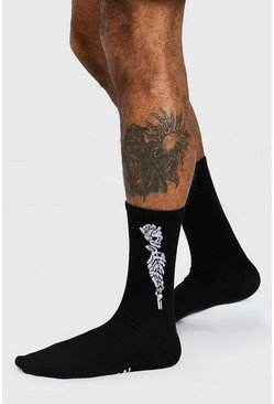 Black Halloween Skull And Rose Socks