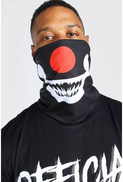 Black Halloween Clown Face Snood