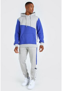 Blue Official Colour Block Hooded Tracksuit