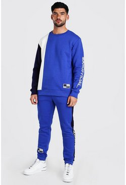 Blue Official Colour Block Sweater Tracksuit