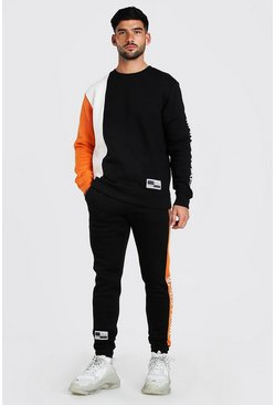 Orange Official Colour Block Sweater Tracksuit