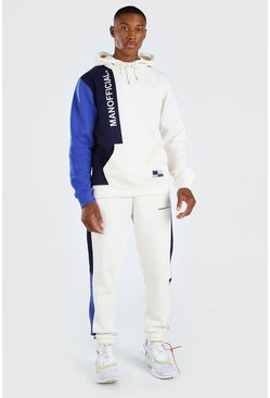 Ecru Official Colour Block Hooded Tracksuit