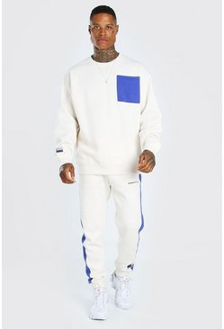 Blue Oversized Colour Block Sweater Tracksuit