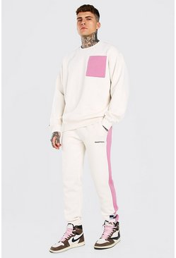 Light pink Oversized Colour Block Sweater Tracksuit