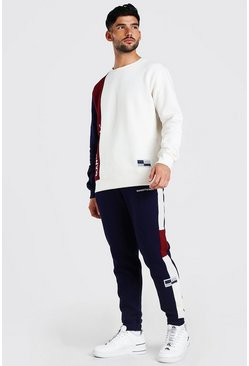 Burgundy Official Colour Block Sweater Tracksuit