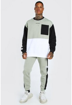 Oversized Official Colour Block T-shirt Tracksuit, Sage verde