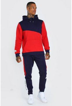 Red Official Colour Block Hooded Tracksuit