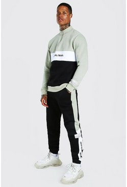 Official Colour Block Half Zip Tracksuit, Navy azul marino