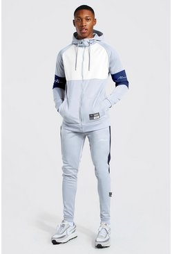 Sky grey MAN Signature Colour Block Zip Through Tracksuit