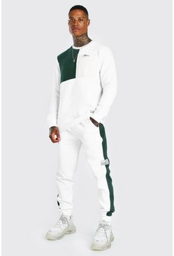 Dark green MAN Colour Block Sweater Tracksuit