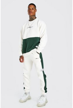Dark green Oversized MAN Colour Block Sweater Tracksuit