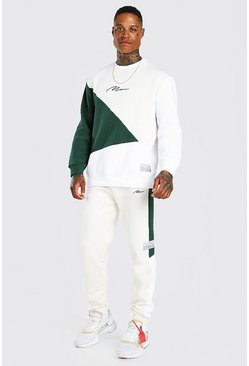 Dark green green Man Los Colour Block Trainingspak Met Sweater