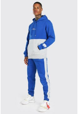Blue MAN Signature Colour Block Hooded Tracksuit