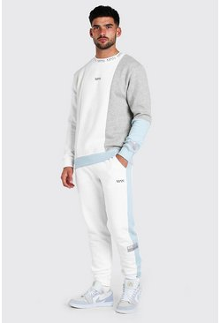 White MAN Dash Colour Block Sweater Tracksuit