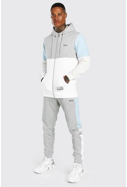 Grey marl MAN Dash Colour Block Zip Through Tracksuit