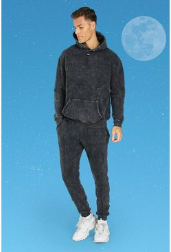 Charcoal grey Tall Official MAN Slim Acid Wash Tracksuit