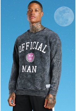 Grey Official MAN Oversized Acid Wash Varsity Sweater