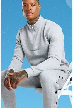 Grey marl Official MAN Funnel Neck Side Popper Tracksuit