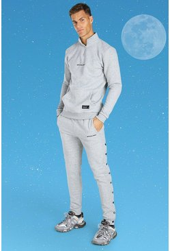 Grey marl grey Tall Official MAN Side Popper Tracksuit