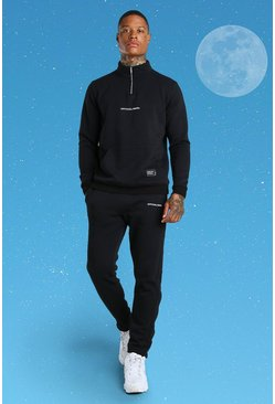 Black Official MAN Funnel Neck Side Popper Tracksuit