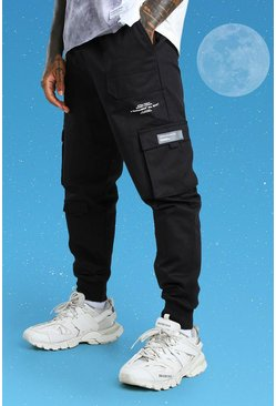Black Slim Multi Pocket Deep Cuff Cargo Trouser