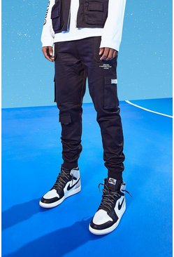 Black Tall Slim Multi Pocket Deep Cuff Cargo Pants