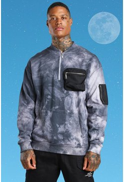 Light grey grey Tie Dye Utility Pocket Sweatshirt