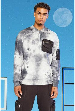 Light grey grey Tall Tie Dye Utility Sweatshirt Met Zakken