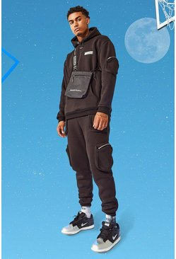 Tall Hooded International Utility Pocket Tracksuit, Black noir