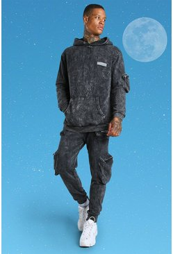 Charcoal grey International Acid Wash Utility Tracksuit