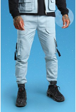 Blue Slim Twill Cargo Trouser With Buckles