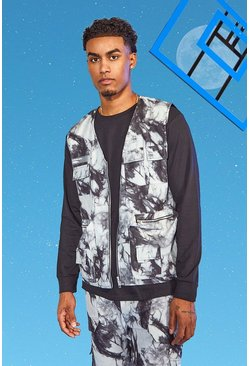 Charcoal grey Tall Twill Tie Dye Utility Vest