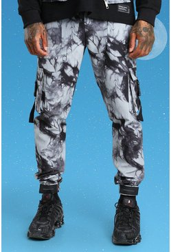 Charcoal grey Slim Tie Dye Twill Cargo Pants With Buckles